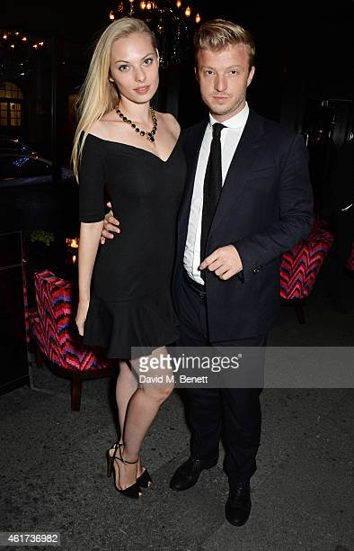 Dioni Tabbers and Josh Varney attend an after party following The Critics' Circle Film Awards at The May Fair Hotel on January 18 2015 in London...