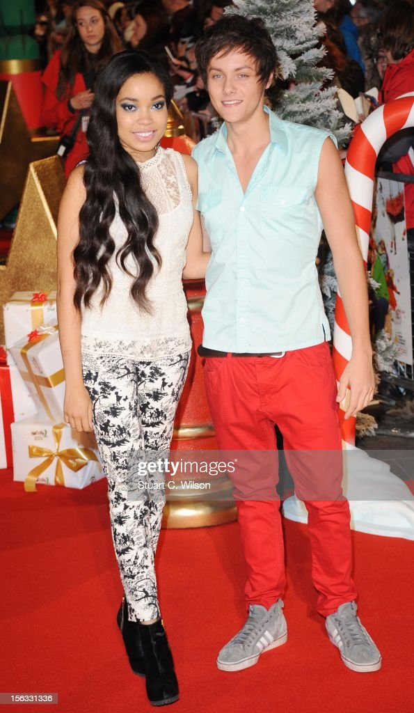 Dionne Bromfield and Tiger Drew Honey attend the 'Nativity 2: Danger In The Manger' premiere at Empire Leicester Square on November 13, 2012 in London, England.