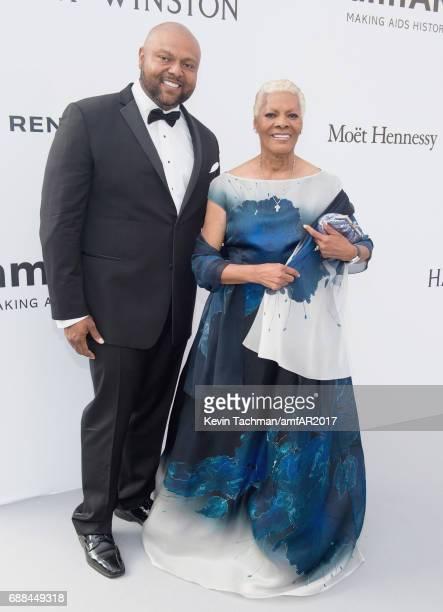 Dionne Warwick amd Damon Elliott arrive at the amfAR Gala Cannes 2017 at Hotel du CapEdenRoc on May 25 2017 in Cap d'Antibes France