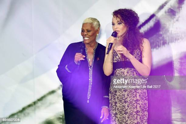 Dionne Warwick and Cheyenne Elliott perform on stage during the Life Ball 2017 show at City Hall on June 10 2017 in Vienna Austria
