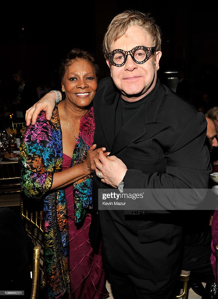 Dionne Warwick and Elton John attends the amfAR New York Gala to kick off Fall 2011 Fashion Week at Cipriani Wall Street on February 9, 2011 in New York City.
