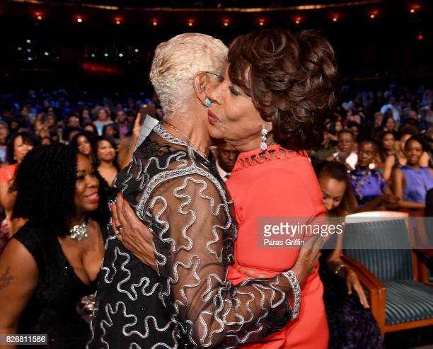 Dionne Warwick and Maxine Waters attend Black Girls Rock 2017 backstage at NJPAC on August 5 2017 in Newark New Jersey