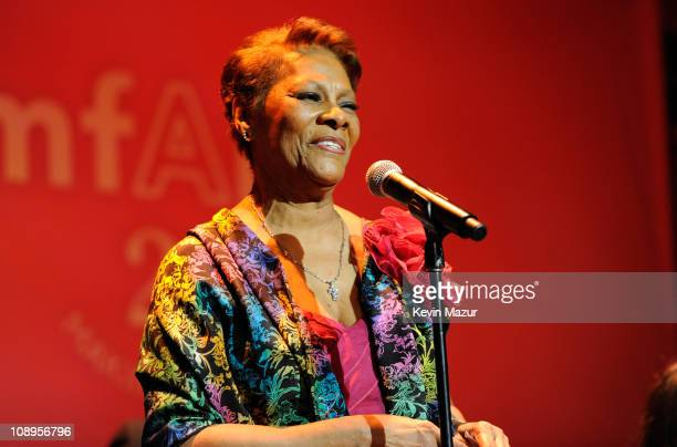 Dionne Warwick performs onstage at the amfAR New York Gala to kick off Fall 2011 Fashion Week at Cipriani Wall Street on February 9 2011 in New York...