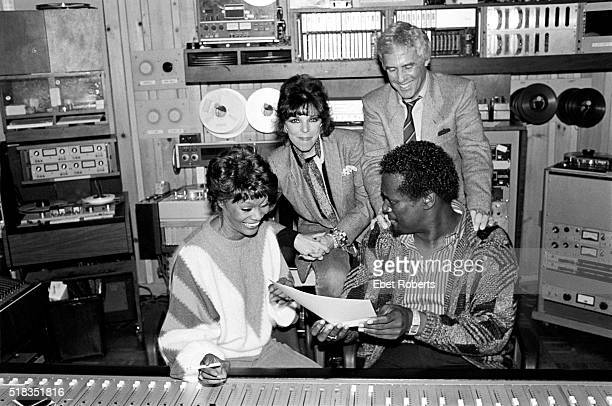 Dionne Warwick photographed at Media Sound Studios on West 57th St in New York City on October 6 1984 Pictured Burt Bacharach Dionne Carole Bayer...