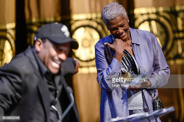 Dionne Warwick receives a Trendsetter Award as Donnie Simpson speaks during the Congressional Black Caucus' 20th Annual Celebration of Leadership in...