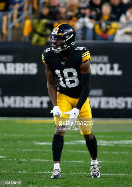 Diontae Johnson of the Pittsburgh Steelers in action against the Los Angeles Rams on November 10, 2019 at Heinz Field in Pittsburgh, Pennsylvania.