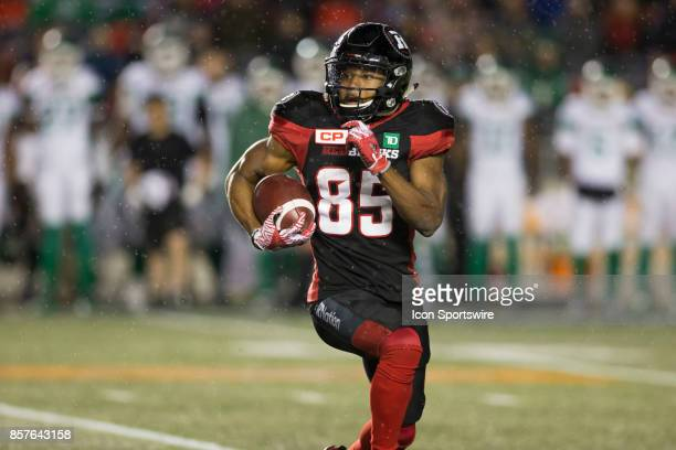 Diontae Spencer of the Ottawa Redblacks runs the ball back downfield against the Saskatchewan Roughriders The Saskatchewan Rough Riders defeated the...