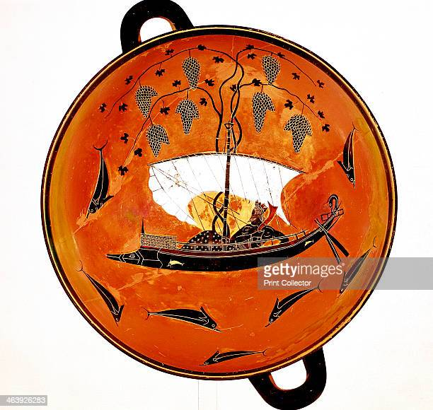 Dionysius in a sailing boat surrounded by dolphins Ancient Greek dish 530 BC The boat is carrying a cargo of grapevines Dionysius was the Ancient...