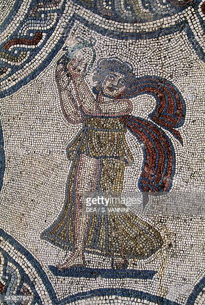 Dionysus and the allegory of the four seasons detail from the mosaic in the House of Dionysus and Four Seasons Roman city of Volubilis Morocco Roman...