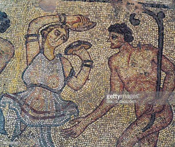Dionysus and Tiaso detail of a mosaic from a Roman villa on the Agora Corinth Greece Roman Civilisation 5th century Argos Museum