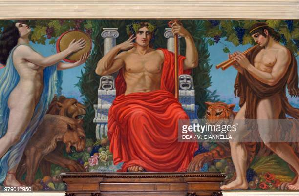 Dionysus enthroned between a bacchant and a faun fresco by Antonio Maria Morera in the Great Hall of the Enological School, Conegliano, Veneto,...