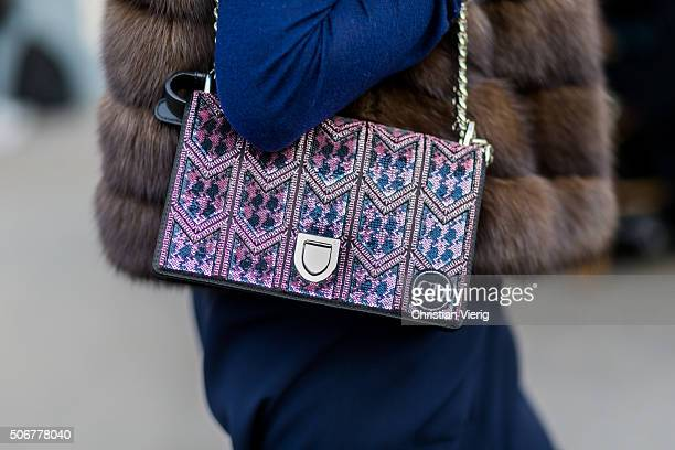 Dior bag seen outside Dior during the Paris Fashion Week Haute Couture Spring/Summer 2016 on January 25 2016 in Paris France