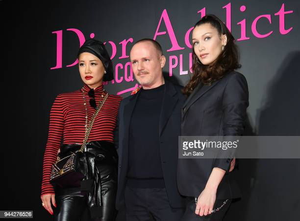 Dior Homme's new jewelry designer Yoon Ahn Dior creative imaging director Peter Phillips and Bella Hadid attend the Dior Addict Lacquer Plump Party...