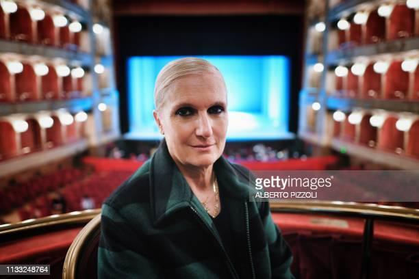 Dior Italian creative director Maria Grazia Chiuri poses during a photo session at the Teatro dell'Opera in Rome on March 27 2019 Dior fashion house...