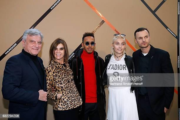 CEO Dior Sidney Toledano Carine Roitfeld Formula One driver Lewis Hamilton Paris Jackson and Stylist Kris Van Assche pose backstage after the Dior...