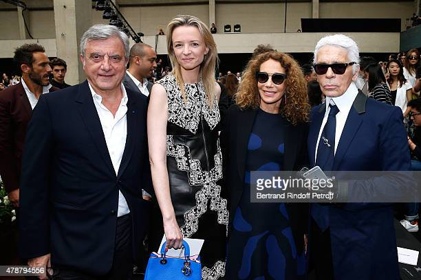 Dior Sidney Toledano, Louis Vuitton's executive vice president, Delphine Arnault, Marisa Berenson and Fashion Designer Karl Lagerfeld attend the Dior...