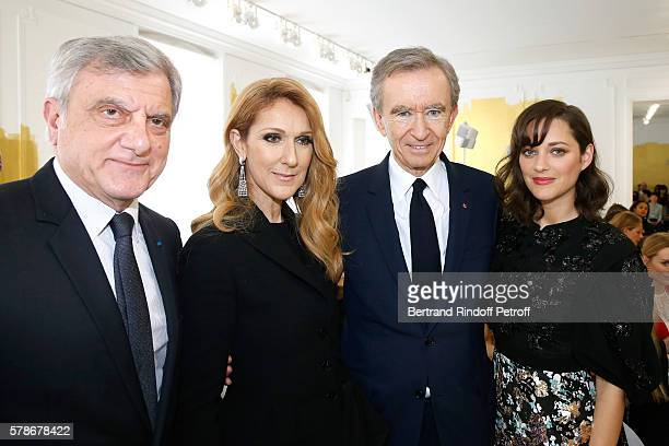CEO Dior Sidney Toledano singer Celine Dion Owner of LVMH Luxury Group Bernard Arnault and actress Marion Cotillard attend the Christian Dior Haute...