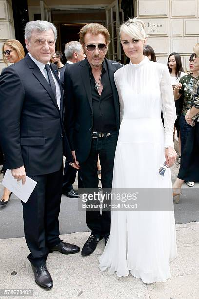 CEO Dior Sidney Toledano singer Johnny Hallyday and his wife Laeticia attend the Christian Dior Haute Couture Fall/Winter 20162017 show as part of...