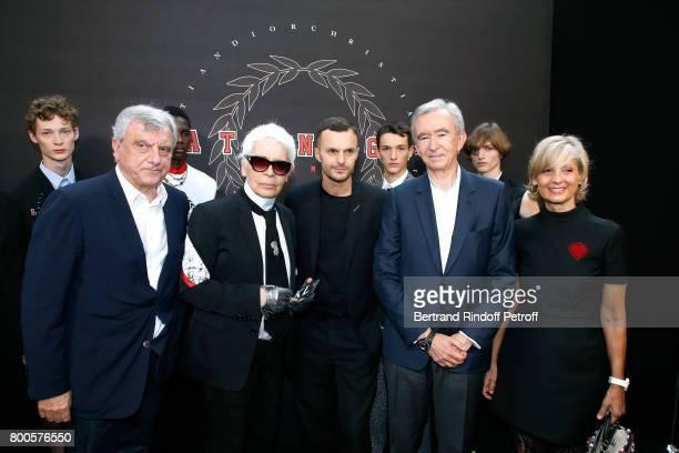 Dior Sidney Toledano, Stylist Karl Lagerfeld, Stylist Kris Van Assche, Owner of LVMH Luxury Group Bernard Arnault and his wife Helene Mercier-Arnault...
