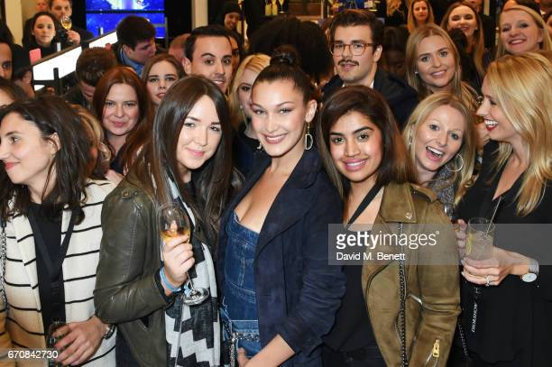 Dior spokesmodel Bella Hadid poses with fans at the launch of her new Dior Pump 'N' Volume Mascara at Selfridges on April 20 2017 in London England