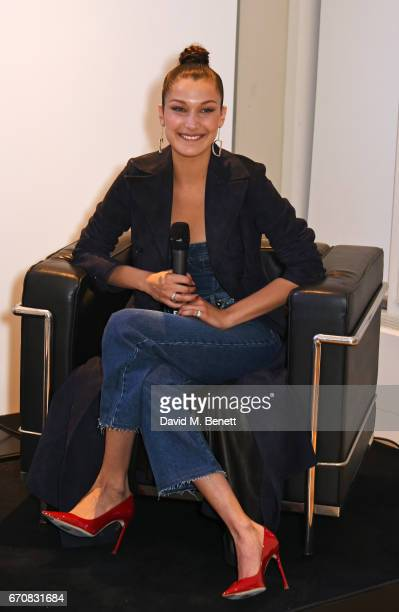 Dior spokesmodel Bella Hadid speaks onstage at the launch of her new Dior Pump 'N' Volume Mascara with her VIP friends at Selfridges on April 20 2017...