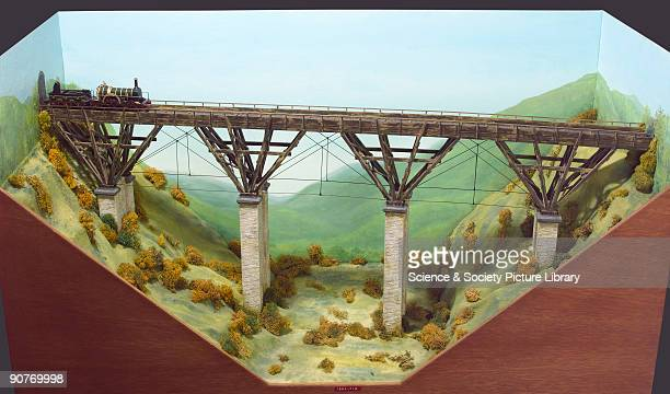 Diorama and model of a Bruneltype timber viaduct in an imaginary location with a model of the �Iron Duke� locomotive and tender This type of viaduct...