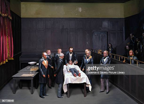 A diorama based on an original daguerreotype of the scene showing John Collins Warren performing the first surgical operation carried out with a...