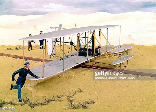 Diorama featuring a model of the aircraft in which Orville Wright and Wilbur Wright made the world's first controlled and powered flights on 17th...