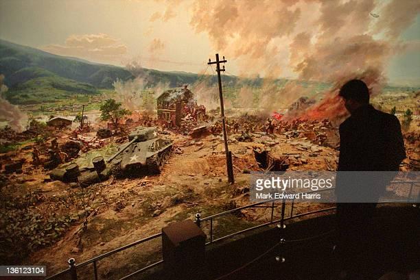 A diorama of a Korean War battle at the Victorious Fatherland Liberation War Museum