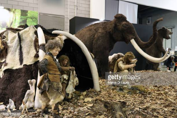 Diorama of a Neanderthal family is seen recreated at the HIT Trade Show on February 10, 2019 in Vicenza, Italy. Italy has loosened its restrictions...
