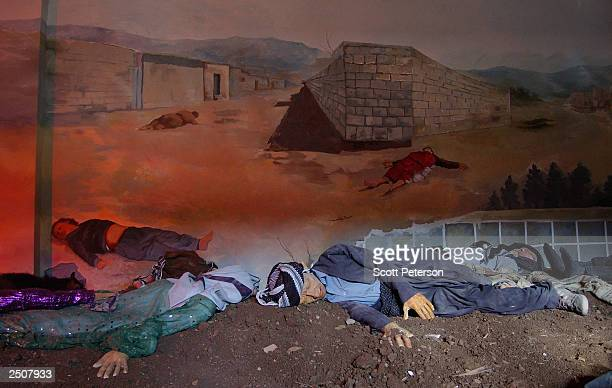 Diorama scene from a memorial in Halabja, Iraq to the 5,000 victims of a chemical gas attack by Saddam Hussein shows September 9 what the aftermath...