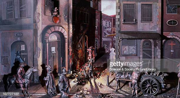 Diorama showing a plague scene in 1600s cRome United Kingdom c1980 Lower Wellcome Gallery diorama showing plague scene in 17th cRome Variety of...