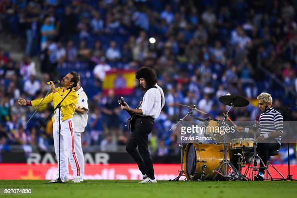 Dios Salve a la Reina' band performs as Queen at halftime during the La Liga match between Espanyol and Levante at Cornella-El Prat stadium on...