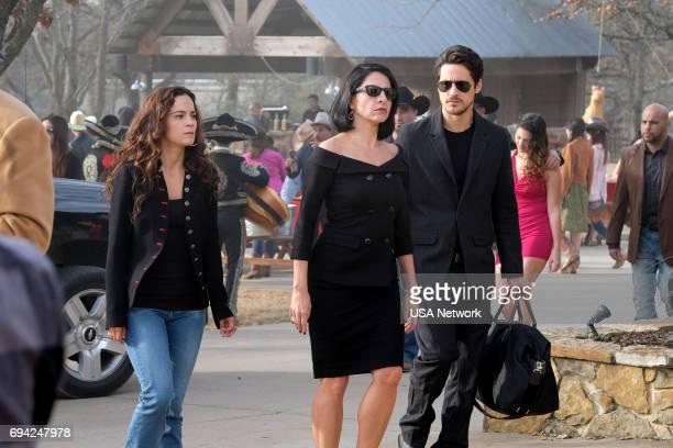 """Dios Y El Abogado"""" Episode 202 -- Pictured: Alice Braga as Teresa, Veronica Falcon as Camila, Peter Gadiot as James --"""