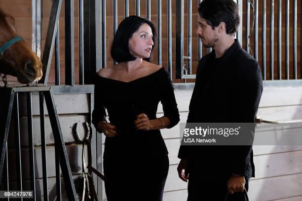 """Dios Y El Abogado"""" Episode 202 -- Pictured: Veronica Falcon as Camila, Peter Gadiot as James --"""