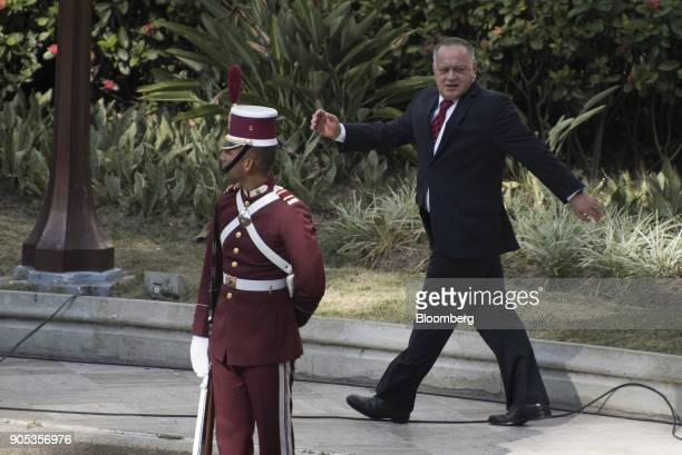Diosdado Cabello vice president of the United Socialist Party arrives at the Federal Legislative Palace building ahead of a speech by President...