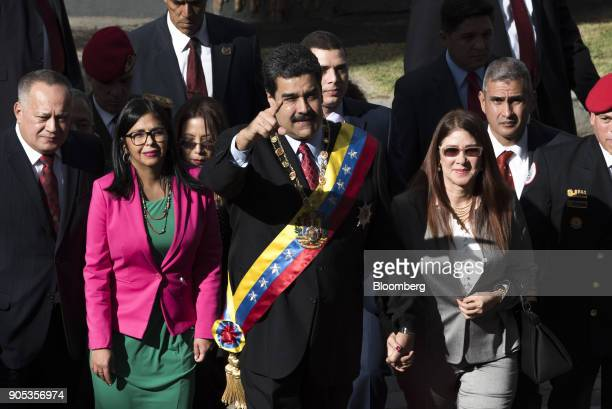 Diosdado Cabello vice president of the United Socialist Party from left Delcy Rodriguez president of the Constituent Assembly Nicolas Maduro...