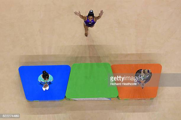 Dipa Karmakar of India celebrates victory in the vault final during the Artistic Gymnastics Aquece Rio Test Event at the Olympic Olympic Arena on...