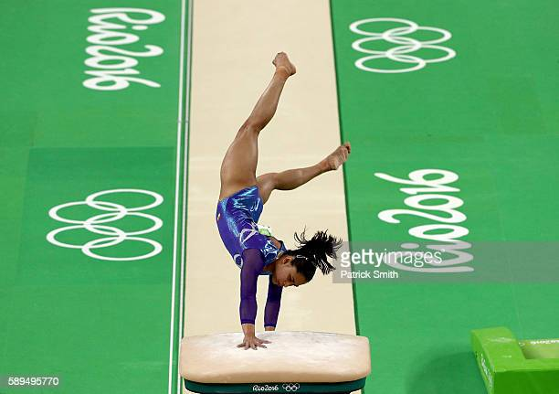 Dipa Karmakar of India competes in the Women's Vault Final on Day 9 of the Rio 2016 Olympic Games at the Rio Olympic Arena on August 14, 2016 in Rio...