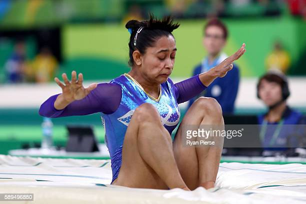 Dipa Karmakar of India falls while competing in the Women's Vault Final on Day 9 of the Rio 2016 Olympic Games at the Rio Olympic Arena on August 14...