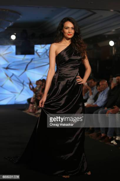 Dipannita Sharma walks the runway at the Nidhi Munim show during India Intimate Fashion Week 2017 at Hotel Leela on March 18 2017 in Mumbai India