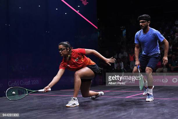 Dipika Pallikal Karthik of India competes in the Mixed Doubles Group E match between India and Pakistan during Squash on day six of the Gold Coast...