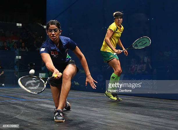 Dipika Pallikal of India plays a shot during the women's doubles semifinal match againsts Rachael Grinham and Kasey Brown of Australia at Scotstoun...