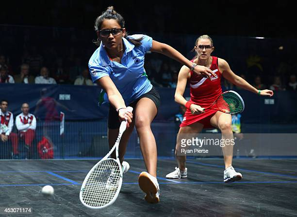 Dipika Pallikal of India plays the ball during the Squash Women's Doubles Final between England and India at Scotstoun Sports Campus during day ten...