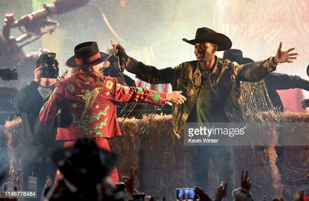 Diplo and Lil Nas X perform onstage during the 2019 Stagecoach Festival at Empire Polo Field on April 28 2019 in Indio California