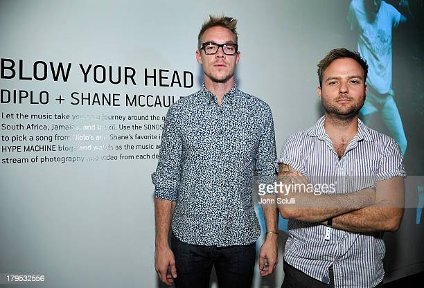 Diplo and Shane McCauley attend 'Blow Your Head' interactive art exhibition by Diplo and photographer Shane McCauley at Sonos Studio on September 4...