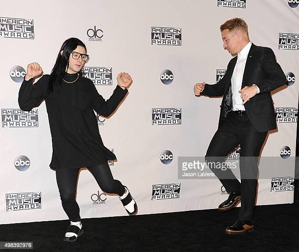 Diplo and Skrillex pose in the press room at the 2015 American Music Awards at Microsoft Theater on November 22 2015 in Los Angeles California