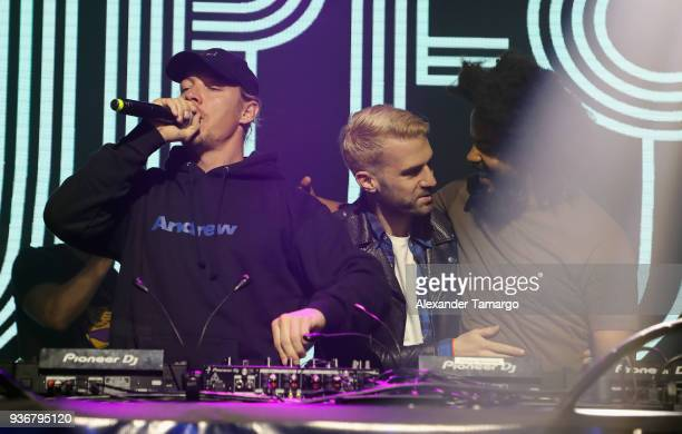 Diplo ATrak and Jillionaire perform on stage during the Diplo Launch of His Exclusive SiriusXM Channel Diplo's Revolution At The Faena Theater on...