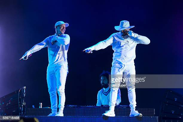 Diplo Jillionaire and Walshy Fire of Major Lazer perform on the second day of the Parklife Festival on June 12 2016 in Manchester England