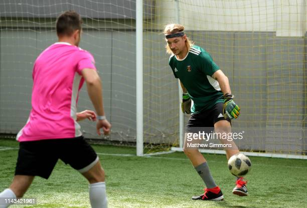 Diplo moves the ball during the Copa Del Rave Charity Soccer Tournament at Evolve Project LA on April 17 2019 in Los Angeles California